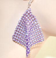 ORECCHINI VIOLA donna STRASS sexy pendenti CRISTALLI brillantini earrings 1405