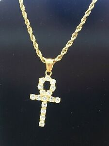 Ankh necklace stainless steel 14k gold plated with 22 inch Rope chain