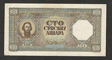 WWII-GERMANY OCC SERBIA-PAPER MONEY, 100 din.-VF-1943.