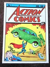 Superman PRINT Vintage 1978 Rare Fantasy DC Action Comics Art Plate Retro Car