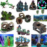 Aquarium Fish Tank Barrel Resin Plant Tree Ornament Cave Sailing Boat Decoration