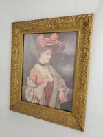 Vintage Gold Gilt Carved Wood Gesso Framed Victorian A Bow Hat Print Picture