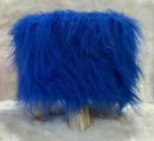 Shabby Chic ROYAL BLUE Faux Fur Foot Stool Pouffe ottoman wooden Round