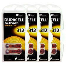 Duracell Activair Hearing Aid 312 Size batteries Zinc air x 6 - 60/120 cells