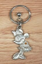 Genuine Disney Silver Tone Minnie Mouse w/ Bell Charm Collectible Key Chain Only