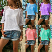 Womens Lace 3/4 Raglan Sleeve Casual Loose T-Shirt Summer Beach Crew Neck Tops
