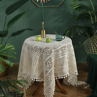 """Square Cotton Hand Crochet Tablecloth Vintage Lace Table Topper Cloth Doily 39"""""""