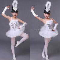 Kids Girls Swan Lake Ballet Dance Tutu Dress Costumes Sequined Beads Leotard