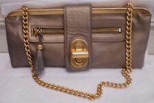 B.Makowsky Pewter Leather,Matte Gold Tone Metal Trim,Chain Strap Sh / Clutch Bag