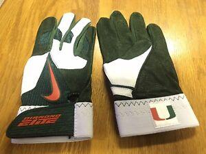 Miami Hurricanes Game Issued Not Used Nike Baseball Batting Gloves Mens Medium M