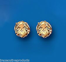 Citrino Pendientes Natural Montantes Solitario 6mm De Oro Amarillo