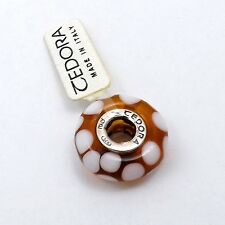 TEDORA STERLING SILVER AMBER BROWN WITH WHITE DOTS MURANO GLASS BEAD CHARM NEW