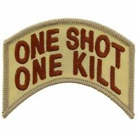 SNIPER ARMY MARINE CORPS ONE SHOT ONE KILL EMBROIDERED MILITARY DESERT  PATCH
