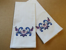 Embroidered Norwegian Rosemaling Hearts White Dish Towels Set of 2 #DT355WHT