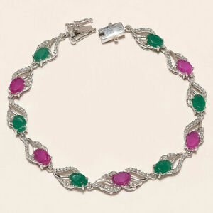 Natural Zambian Emerald Burmese Ruby Tennis Bracelet 925 Sterling Silver Jewelry