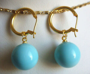 New 14mm Turquoise Blue South Sea Shell Pearl 14K GP Dangle Earrings AAA+