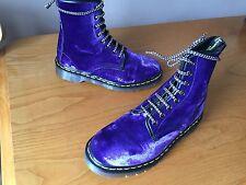 VINTAGE Dr Martens 1460 Stivali Di Velluto Viola UK 5 EU 38 Pelle Punk England