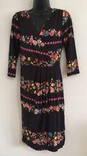 NEW Ex Warehouse Black Multi Floral Print Black Tunic Shift Bodycon Fit Dress