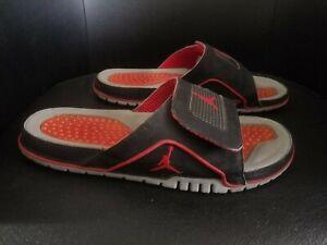 Jordan Retro 4 Hydro Slides Breds Mens size 10 Black Red Slippers