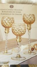 Glass Candle Holders,Goblets,Christmas , 3 Ascending, Gold Look,glamour New