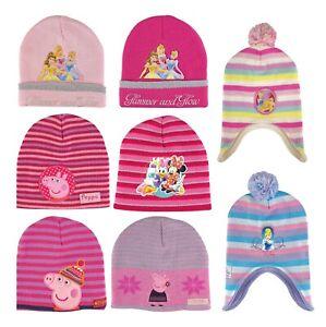 Childrens Kids Girls Navy Grey Peppa Pig Sequin Warm Winter Inca Hat