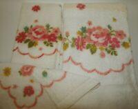 Vintage First Lady 3-Pc. Bath Towel Set - Pink Rose Floral