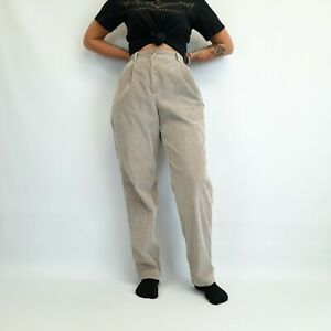 Vintage High Waisted Corduroy Trousers Beige 27W 29L