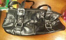 Worthington Faux Black Leather w/ Buckles & Studs Handbag Purse