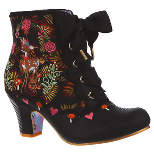 Forest Frolics Black Irregular Choice Woodland Ankle Boots Shoes Autumn Winter