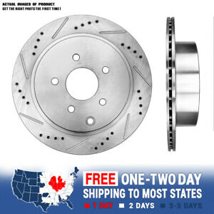 For Infiniti FX35 FX45 Murano Quest REAR DRILLED & SLOTTED PLATED BRAKE Rotors