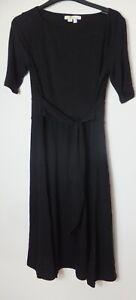 New Women's Boden Black Short Sleeve Round Neck Dress With Belt Size UK 12P