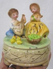 Vintage Josef Originals Music Box Love Theme Series Little Green Apples