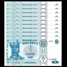 Lot 10 PCS, Moldova 5 Lei, 2009, P-9f, UNC