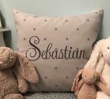 PERSONALISED Boys Embroidered Cushion Cover Clarke & Clarke Grey Etoile Star