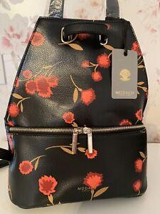 MODALU HARRIET BLACK FAUX LEATHER FLORAL PRINT BACKPACK/RUCKSACK/SHOULDER BAG