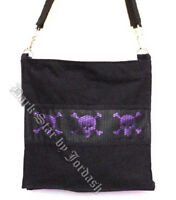 Dark Star Black Stud Cross PVC Canvas Gothic Skull Book Bag