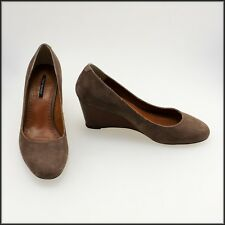 TONY BIANCO WOMEN'S WEDGED HEEL BROWN SUEDE DRESS SHOES SIZE 8.5