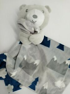 Baby Essentials Grey Bear Lovey Security Blanket  Mountains  Blue and Gray