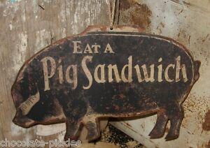 Black PIG Wall SIGN/Message BOARD*Primitive Farmhouse Kitchen/Restaurant Decor