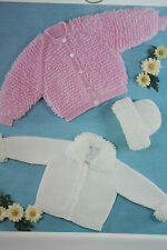 Babys Loopy Knit Cardigans and Hat Knitting Pattern (BB18)