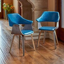 Supernova Bentwood Blue Dining Room Mid Century Modern Walnut 2-Pack Chair