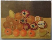 Tableau c1967 Nature Morte aux Fruits Pommes Poires Oranges Huile toile signée
