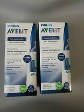 Philips Avent 2-Pack lot of 2 Anti-Colic Baby 9 oz Clear Bottles 1M+ air free