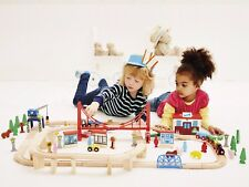 Early Learning Centre ELC Wooden Big City Adventure Train Set Over 100 Pieces