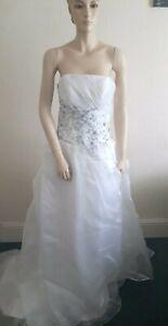 STUNNING WHITE & BLUE EMBROIDERED BODICE STRAPLESS PRINCESS WEDDING DRESS 10