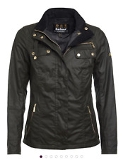 Barbour International Leader Wax Jacket, Fern, Ladies Size 14