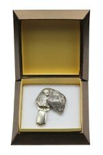 Black Russian Terrier - silver plated clipring with dog, in box, Art Dog Usa