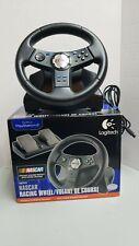 LOGITECH PLAYSTATION 2 NASCAR RACING STEERING WHEEL & PEDAL SET BOX PS2 COMPLETE