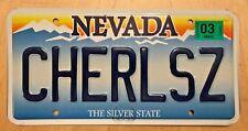 "NEVADA VANITY AUTO  LICENSE PLATE "" CHERLS Z ""  CHERYLS Z CAR  CHER  SHERYL"