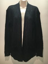 Halogen Black Long Sleeve Knit Cardigan Jacket with Sequins Size M Fit 12 14 16